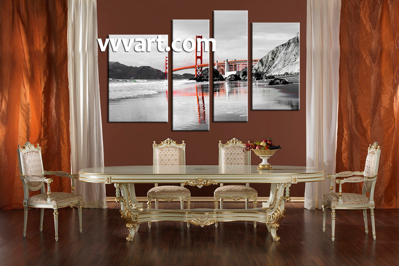 Black white red dining room - Black White Red Dining Room Dining Room Art 4 Piece Canvas Art Prints Landscape Pictures