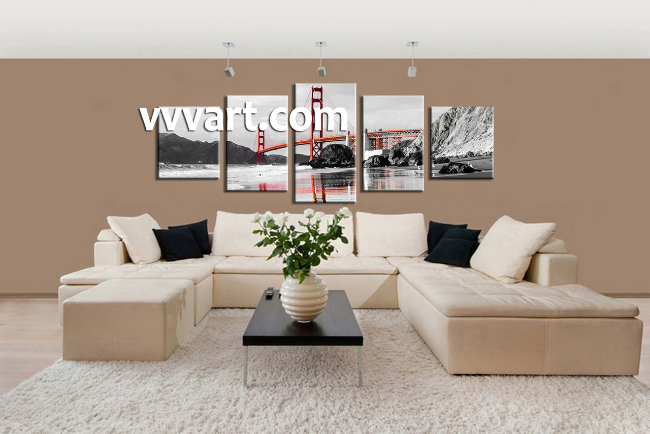 living room canvas art. Living Room Wall Art  5 piece canvas wall art landscape city Piece City Black and White Huge Canvas
