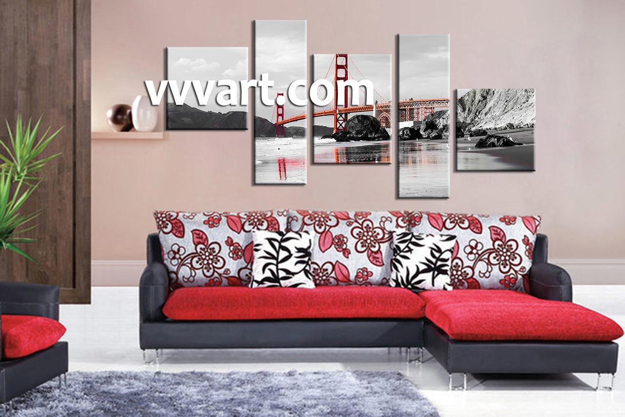 Living Room Wall Art, 5 Piece Canvas Wall Art, Landscape Wall Art, City