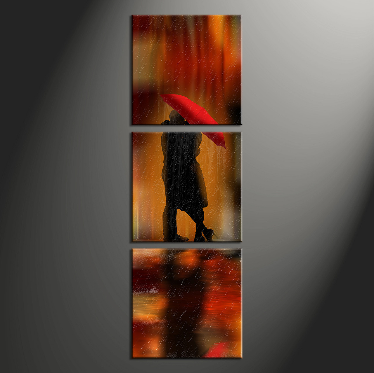 Multi Piece Canvas Wall Art 3 piece red modern rain photo canvas
