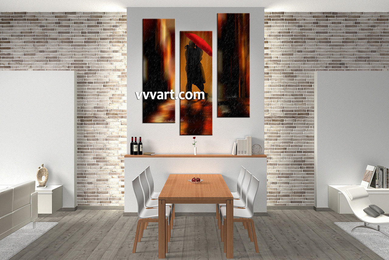 Dining Room Decor 3 Piece Canvas Art Prints Abstract Pictures Couple Huge