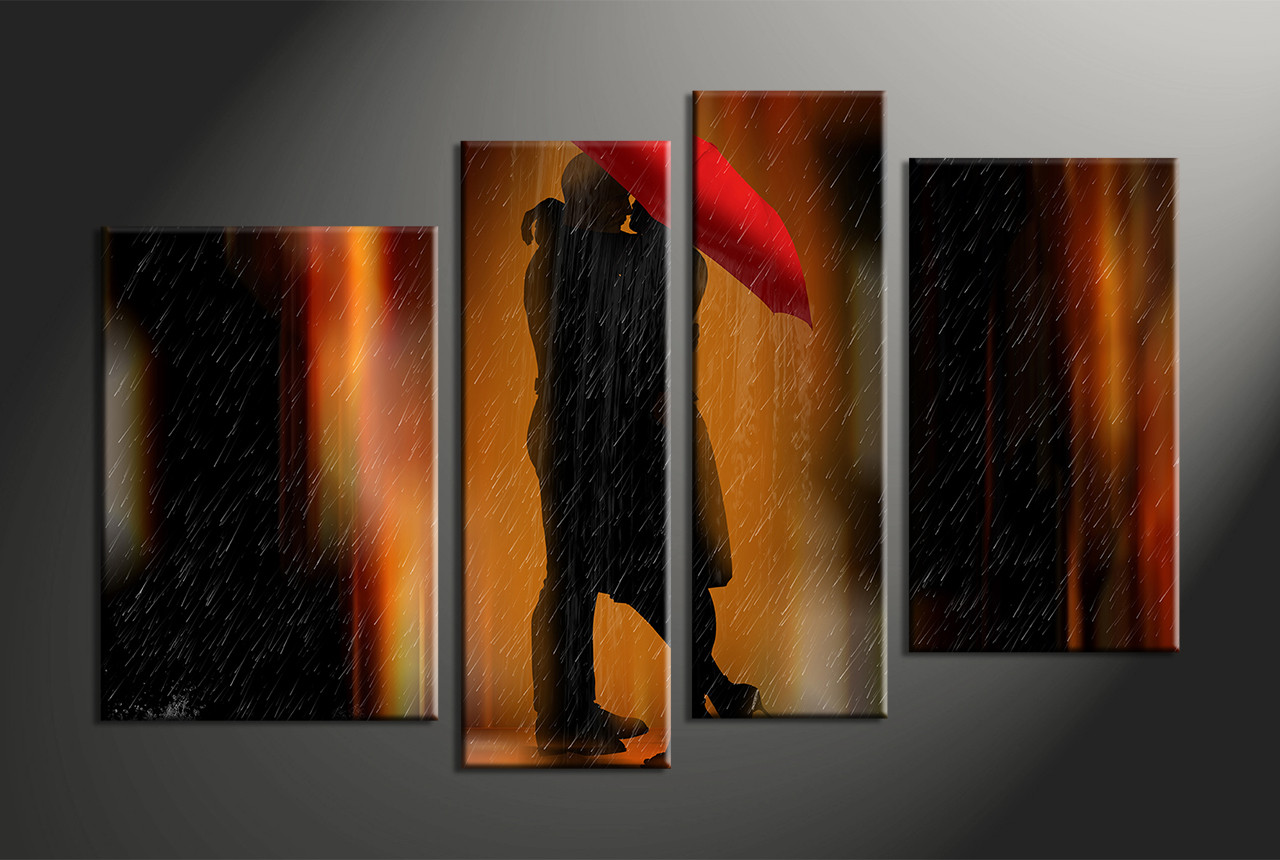 Orange Wall Art 4 piece canvas wall art