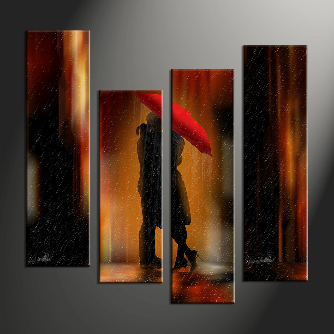 Abstract Wall Decor 4 piece canvas red yellow abstract multi panel art