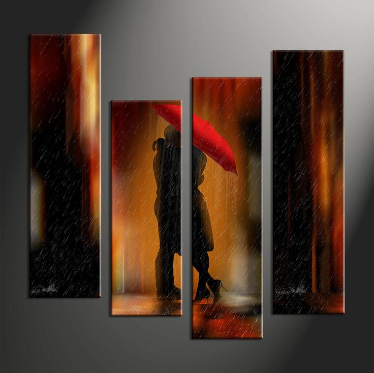 4 piece red modern rain canvas art prints