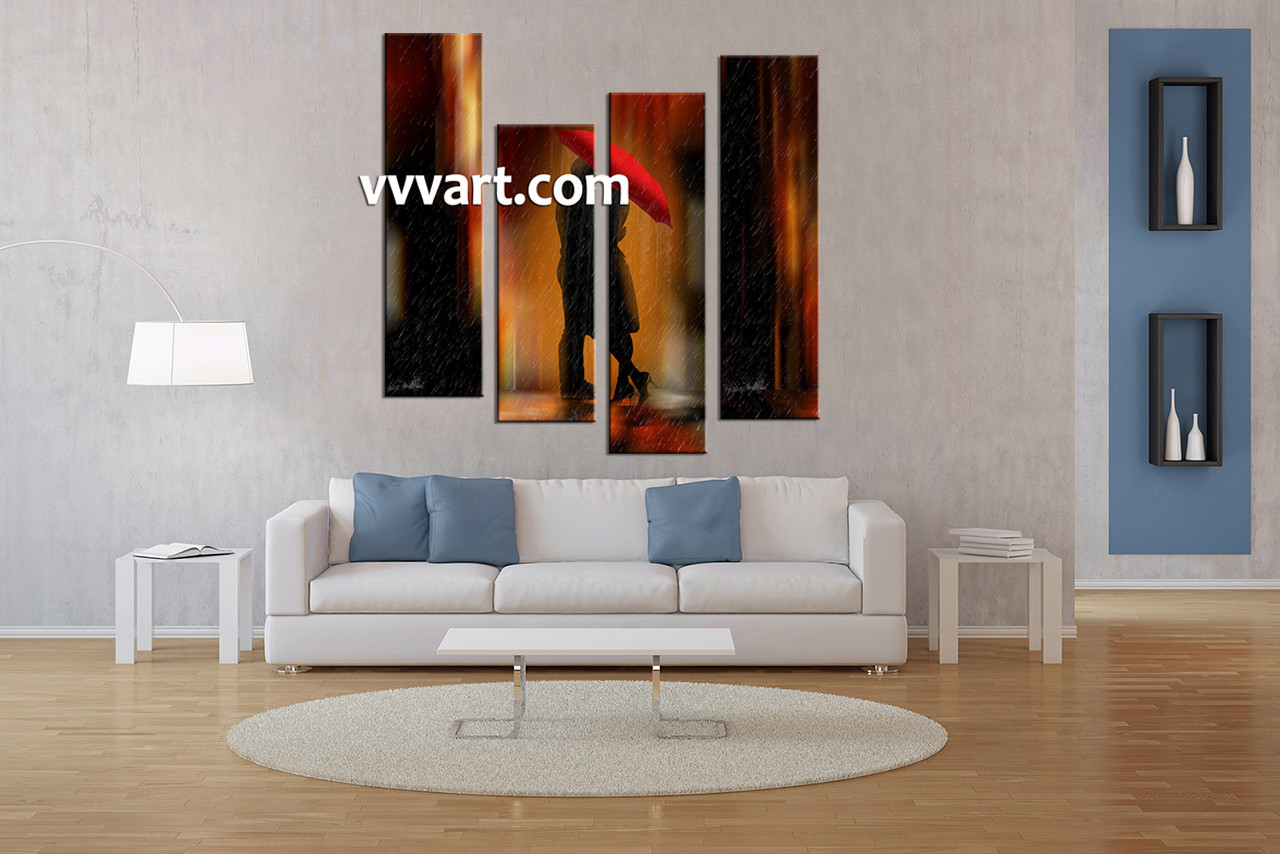 Living Room Wall Art, 4 Piece Canvas Wall Decor, Abstract Canvas Art Prints,