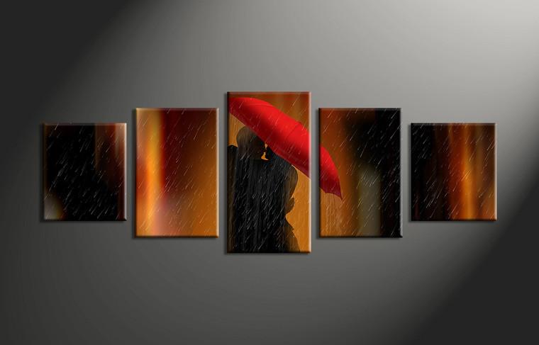 5 piece modern red umbrella decor for 5 piece mural