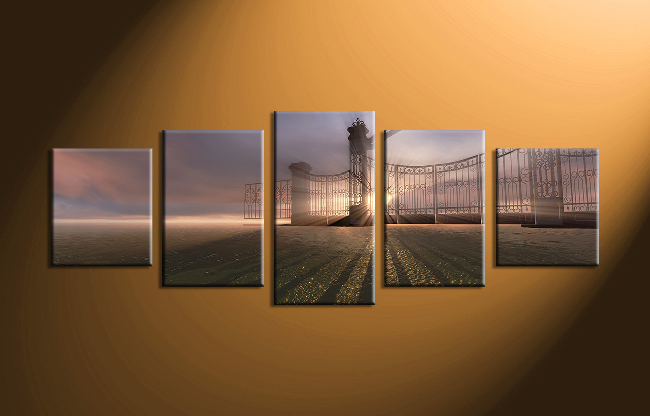 Large Modern Wall Art 5 piece grey canvas modern sunrise wall art
