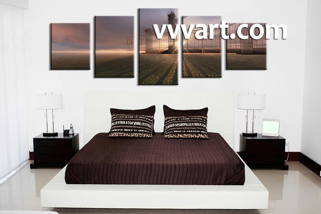 5 piece grey canvas modern sunrise wall art bedroom decor 5 piece wall art scenery wall decor scenery multi panel art amipublicfo Gallery