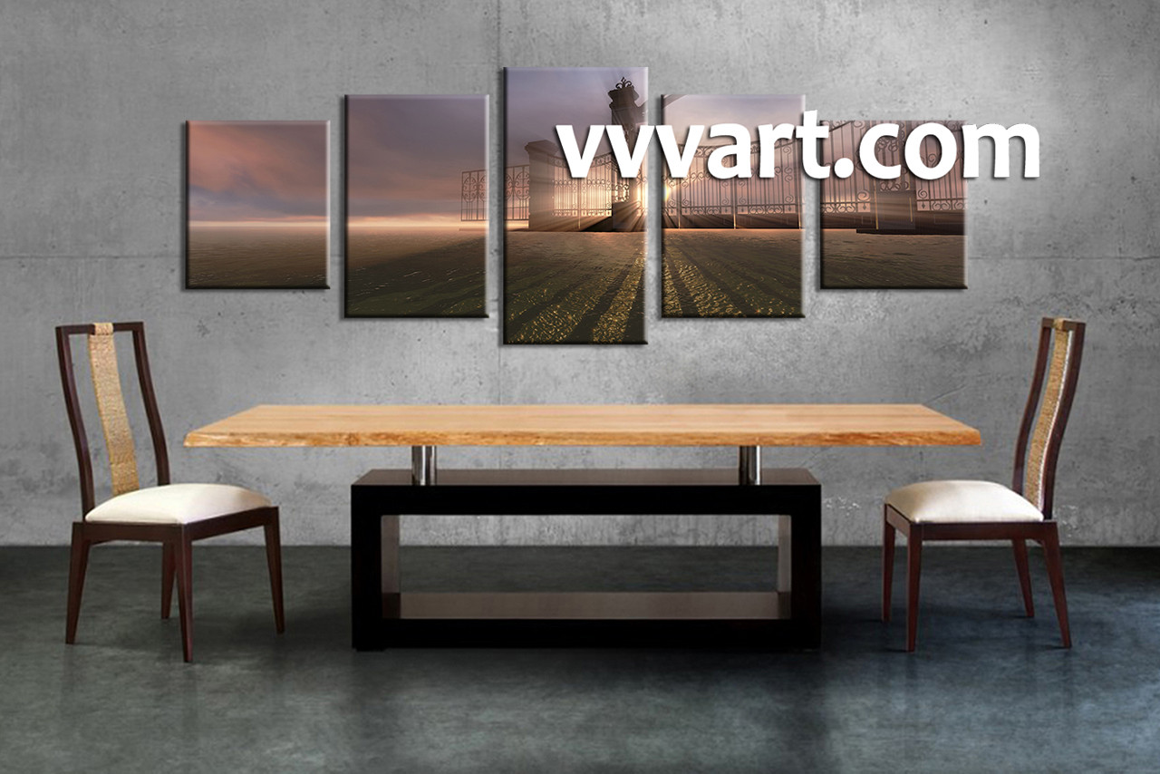 piece grey canvas modern sunrise wall art - dining room wall decor  piece wall art modern multi panel art scenery
