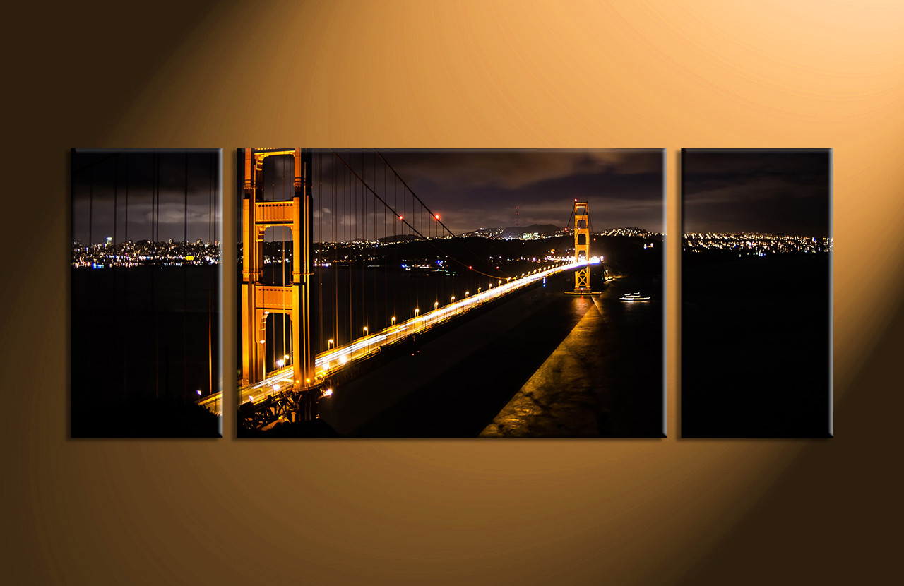 Multi Piece Canvas Wall Art 3 piece black city bridge multi panel canvas