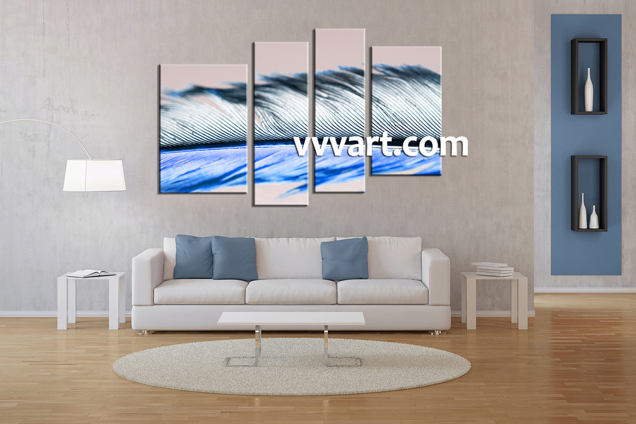 4 piece modern white feather wall decor living room art 4 piece canvas art prints modern artwork abstract wall art amipublicfo Image collections