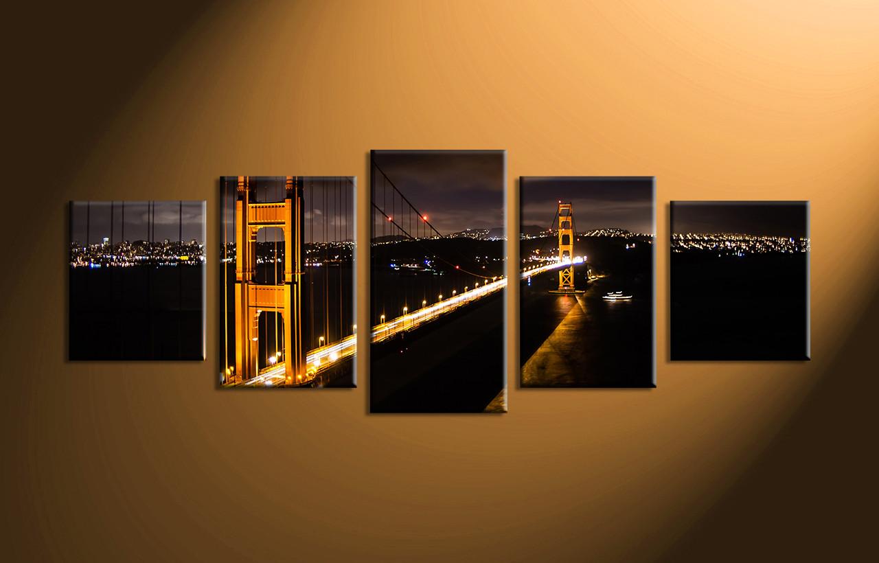 5 piece black canvas city bridge huge pictures. Black Bedroom Furniture Sets. Home Design Ideas