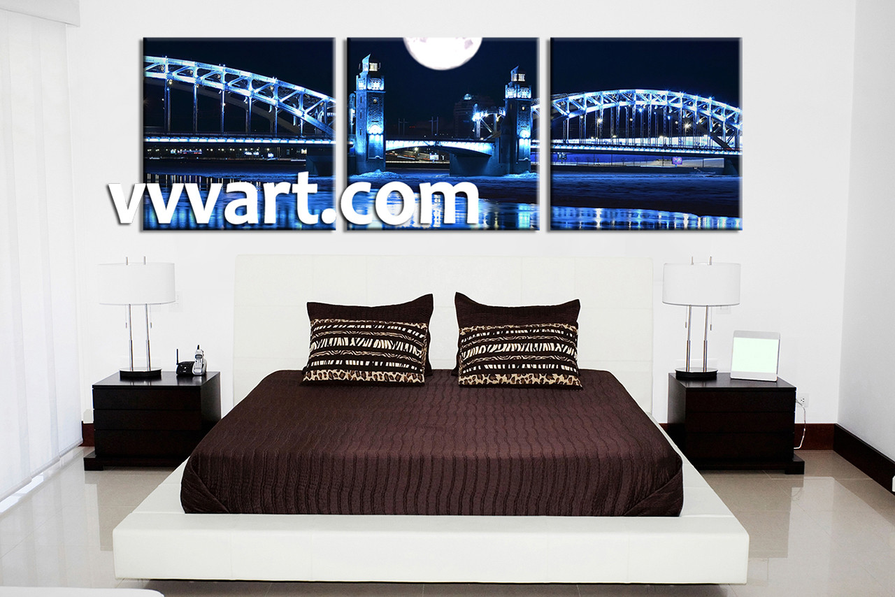 triptych blue city huge canvas art