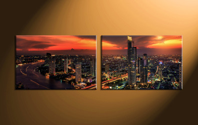 home decor,2 piece canvas art prints, city light canvas print, city canvas print,  scenery photo canvas