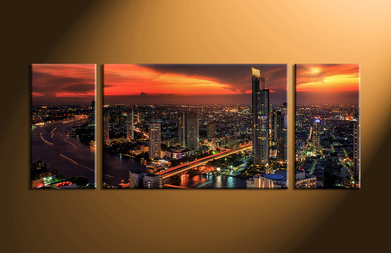 Multi Piece Canvas Wall Art 3 piece black evening city group canvas