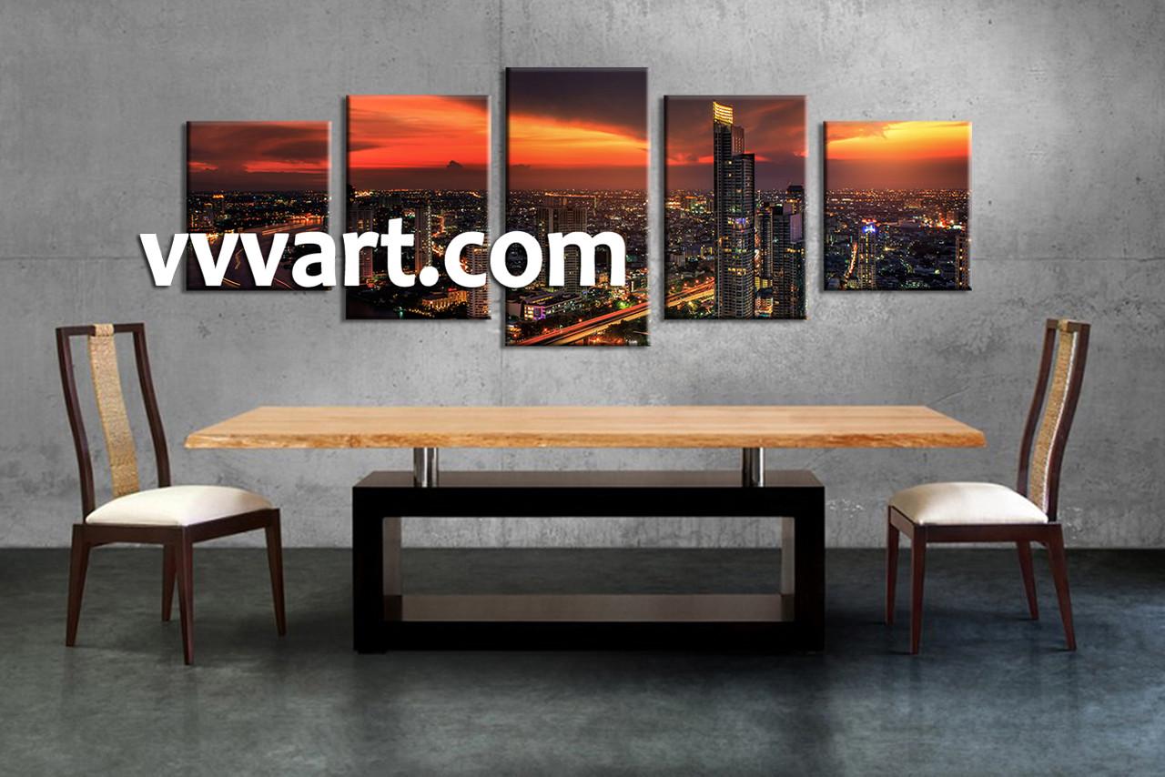 5 Piece Black Evening City Canvas Photography