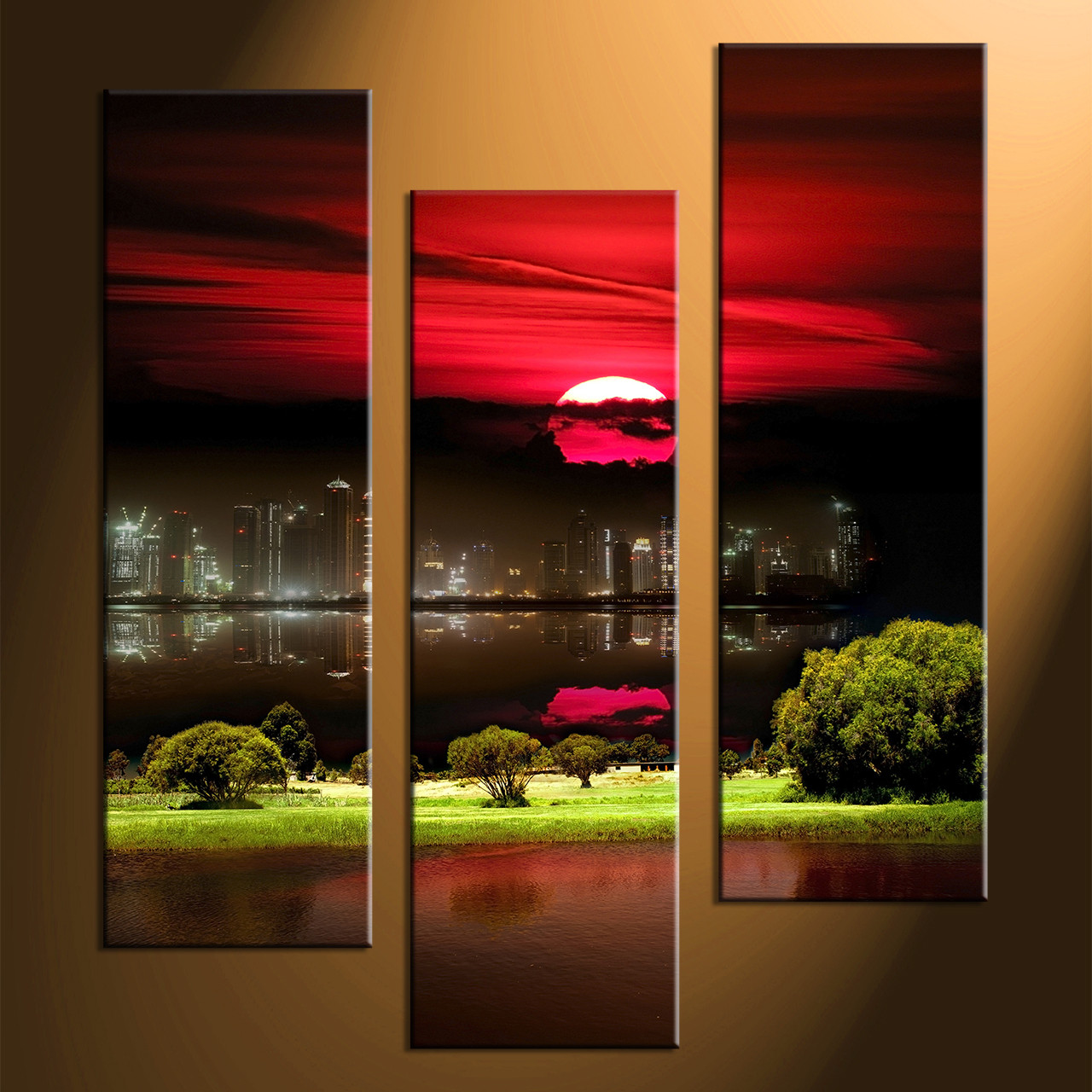 3 piece black canvas city grass pictures