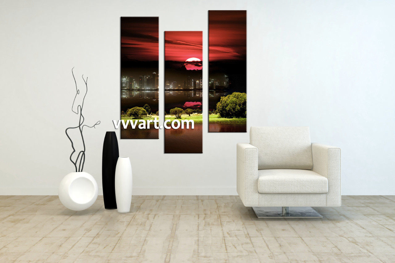 Wall Art And Decor 3 Piece Black Canvas City Grass Pictures