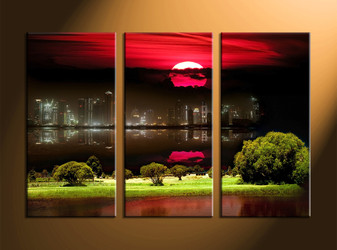 Home Wall Decor, 3 piece canvas art prints, city huge pictures, city landscape decor, nature art