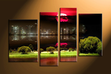 Home Wall Decor, 4 piece canvas art prints, city huge pictures, city landscape decor, nature canvas wall art