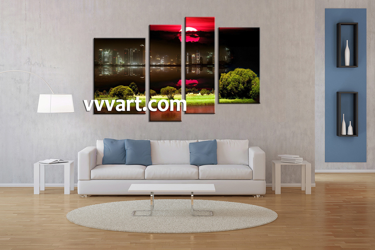 Canvas For Living Room Wall Part - 24: Living Room Artwork, 4 Piece Canvas Wall Art, City Canvas Wall Art, Nature