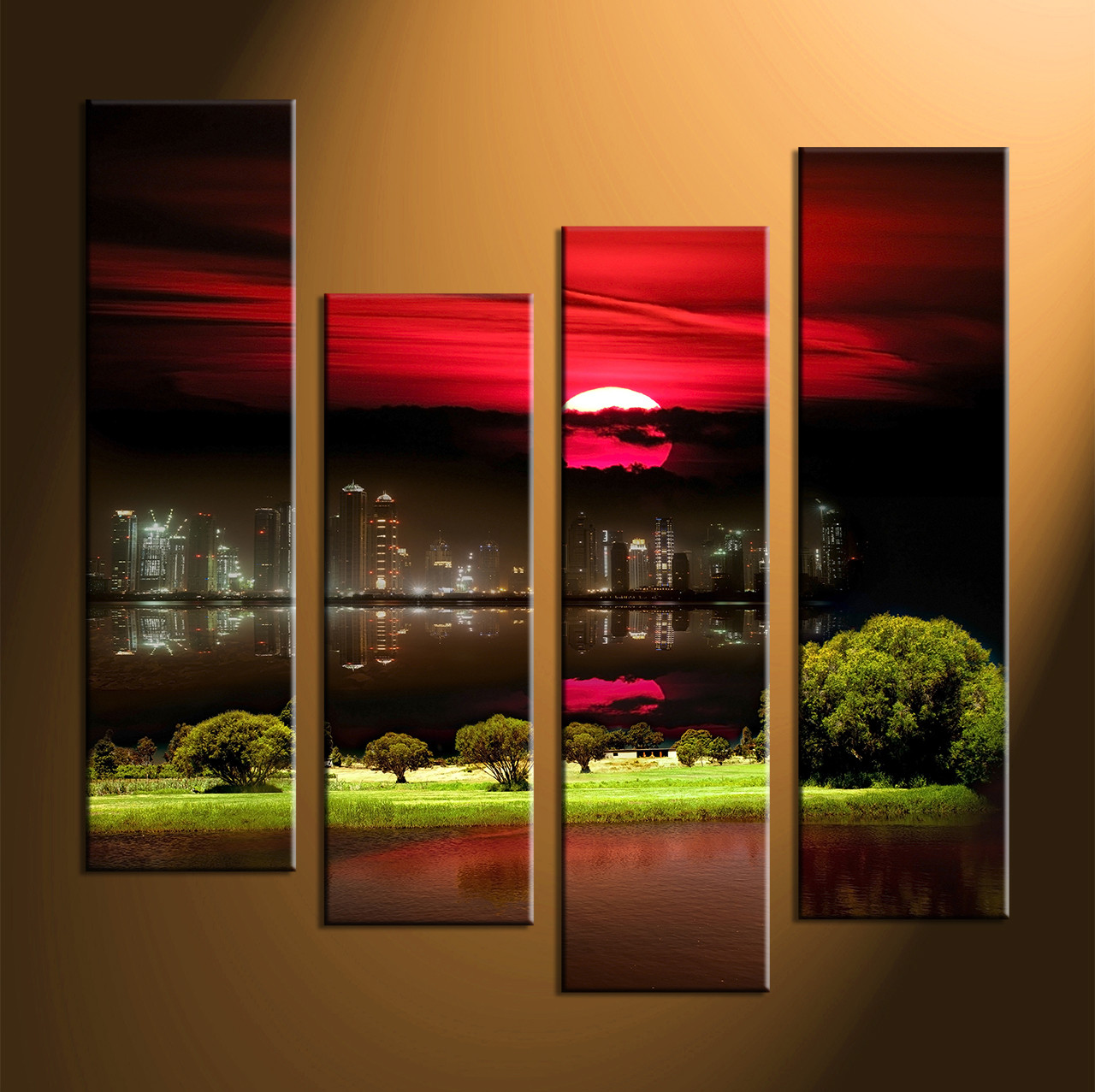Genial Home Wall Decor, 4 Piece Canvas Art Prints, City Huge Pictures, City  Landscape
