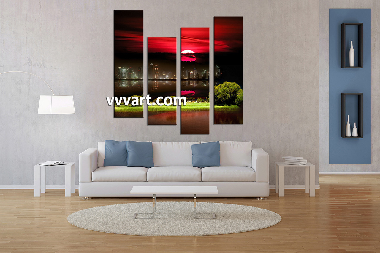 Large Living Room Art Part - 42: Living Room Artwork, 4 Piece Canvas Wall Art, City Canvas Wall Art, Nature