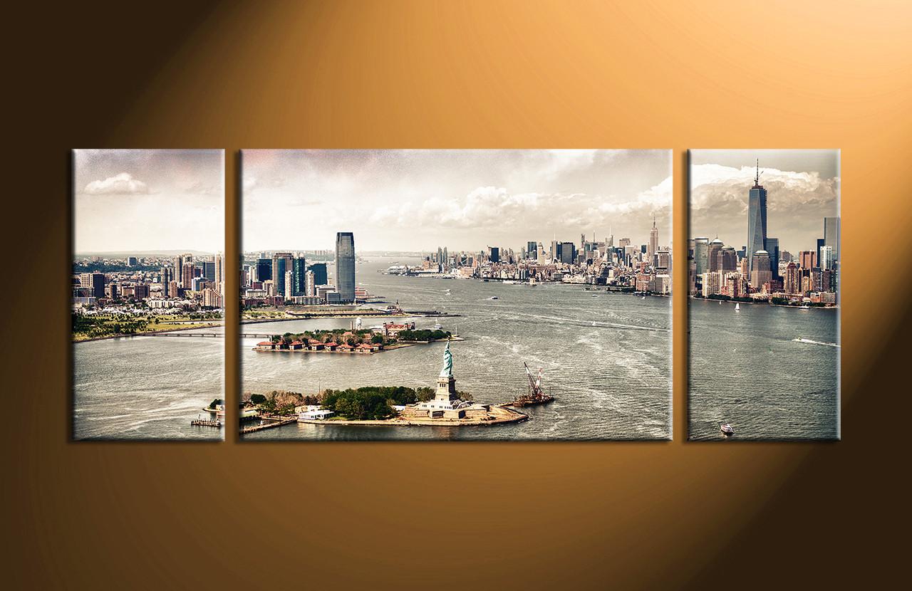 Cityscape Wall Art 3 piece grey city lake multi panel art