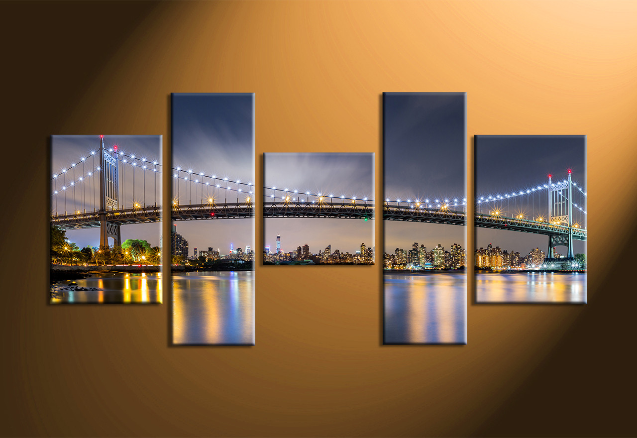5 Piece Blue City Light Canvas Art Prints