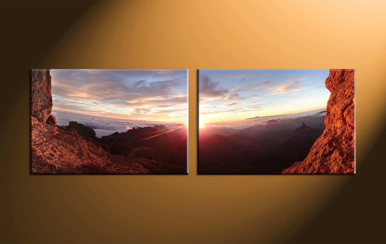 2 piece sunrise brown landscape canvas wall art