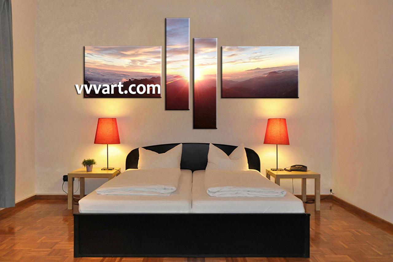 Bedroom Decor, 4 Piece Wall Art, Landscape Huge Pictures, Landscape Multi  Panel Art Part 95