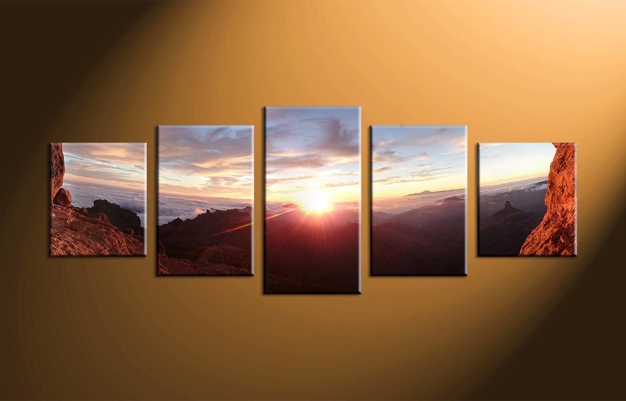 Five Piece Canvas Wall Art 5 piece sunrise brown landscape large pictures