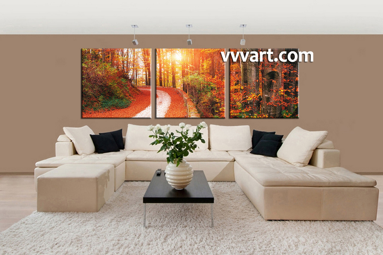 Living Room Art, 3 Piece Canvas Wall Art, Autumn Multi Panel Canvas, Forest Part 30