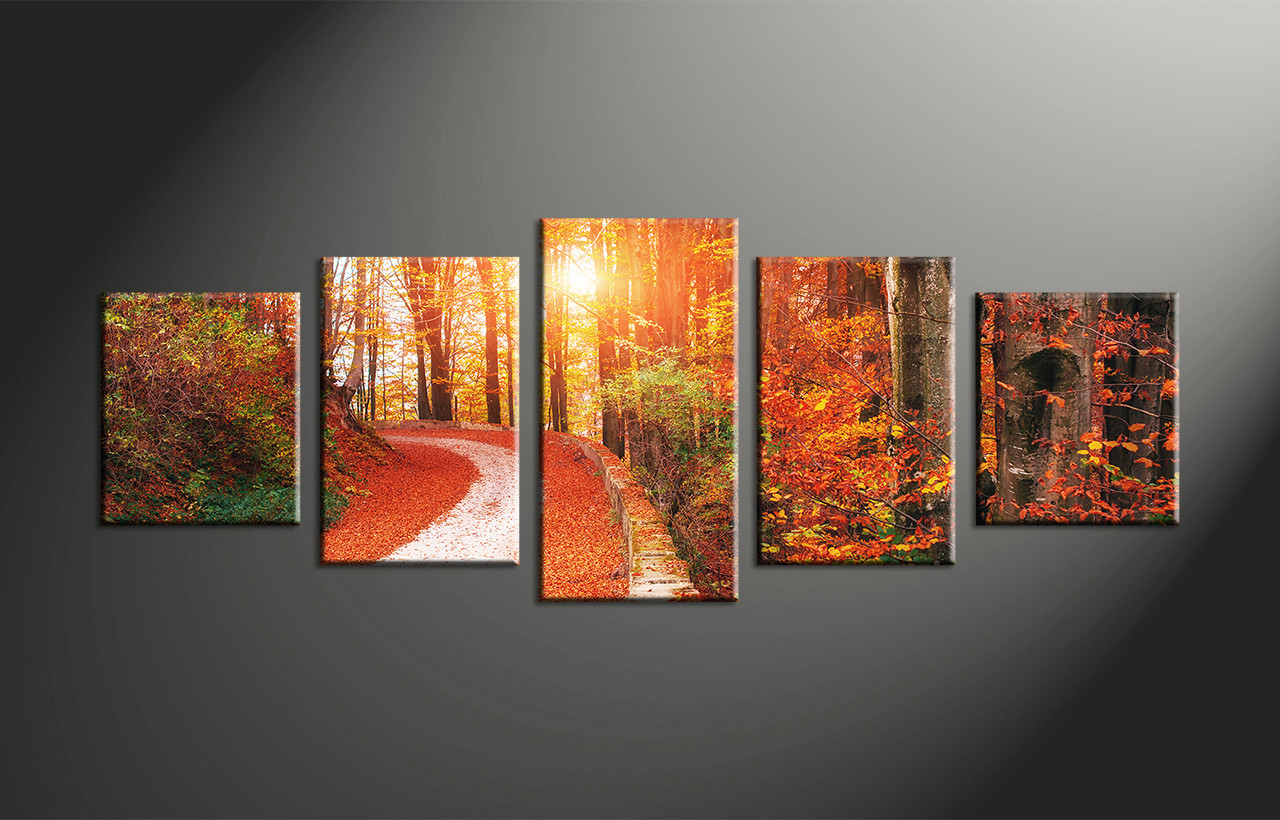 Canvas Wall Decor 5 piece scenery orange autumn canvas wall art