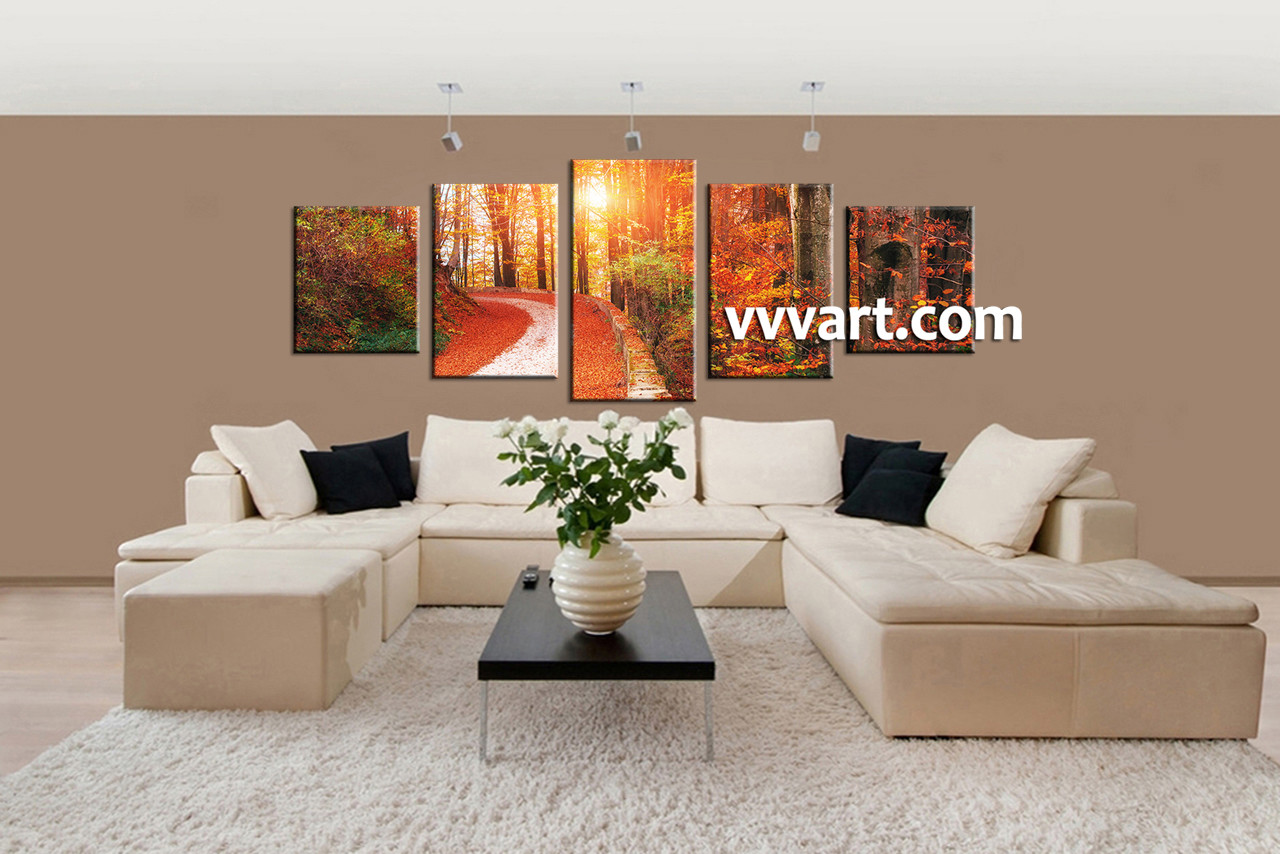 Living Room Art 5 Piece Canvas Wall Nature Huge Pictures Autumn Artwork