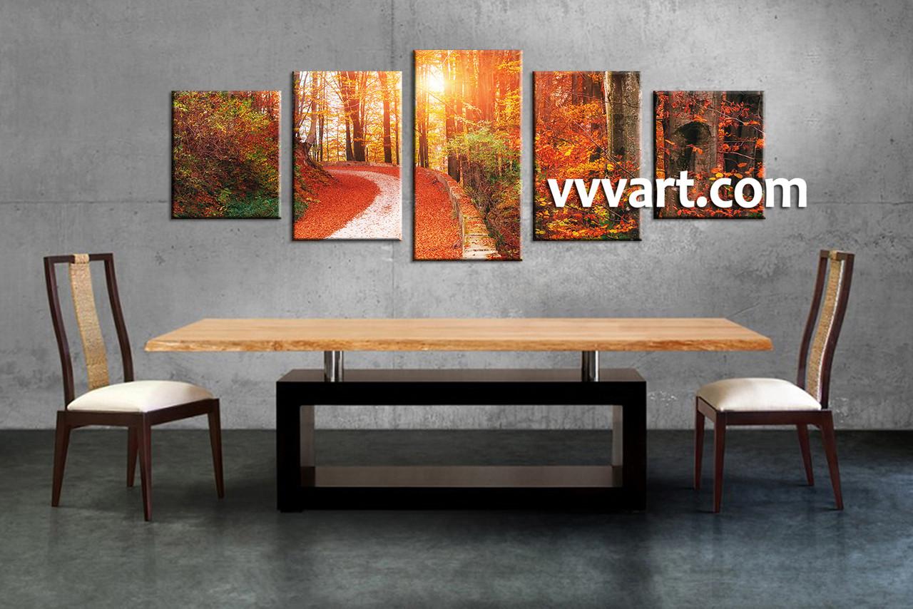 Five Piece Canvas Wall Art 5 piece scenery orange autumn canvas wall art