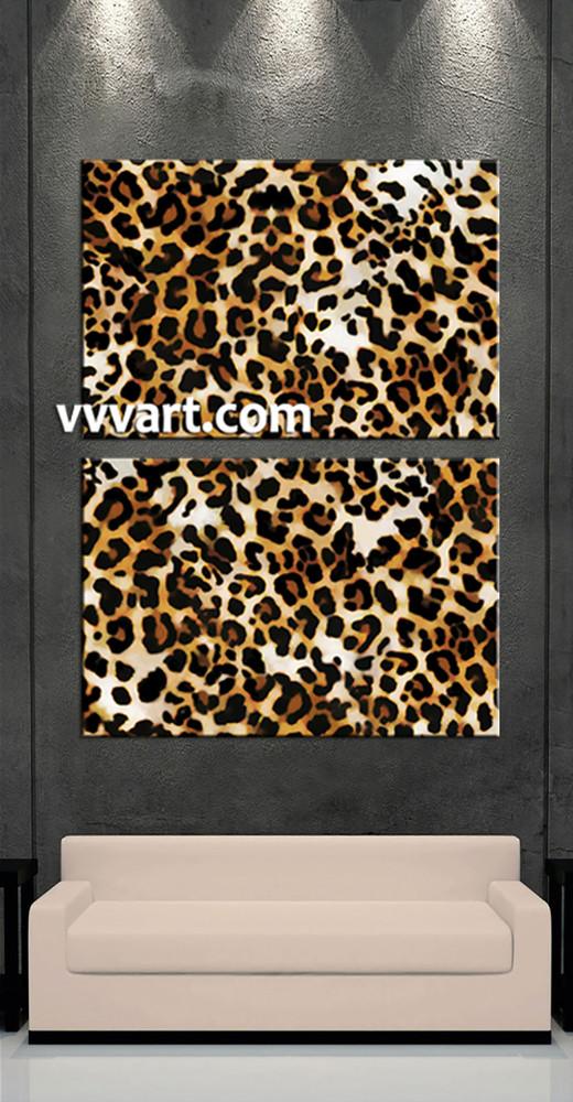 2 Piece Brown Wildlife Leopard Canvas Photography