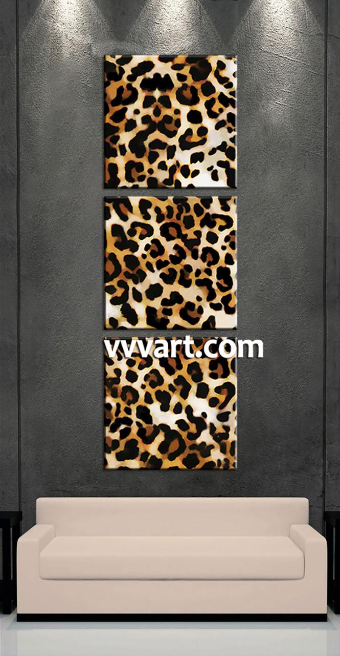Leopard Print Wall Decor 3 piece brown wildlife leopard artwork