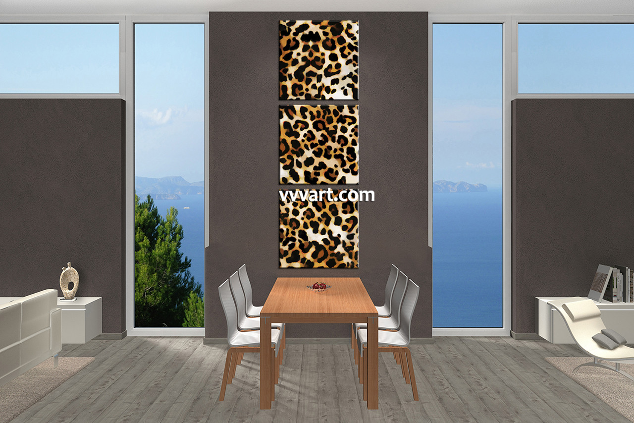 Leopard Wall Decor 3 piece brown wildlife leopard artwork