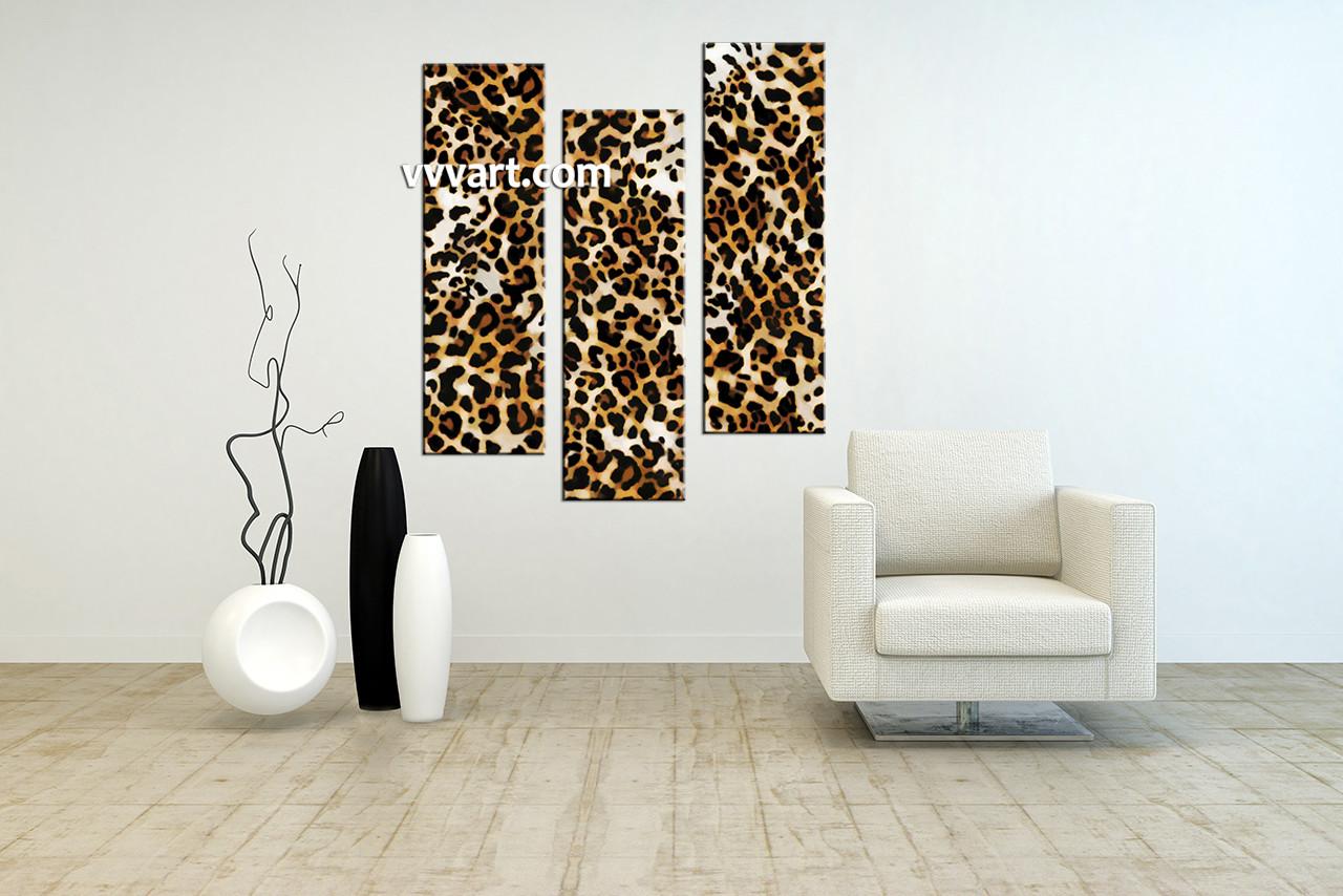 Triptych Leopard Brown Wildlife Canvas Wall Art