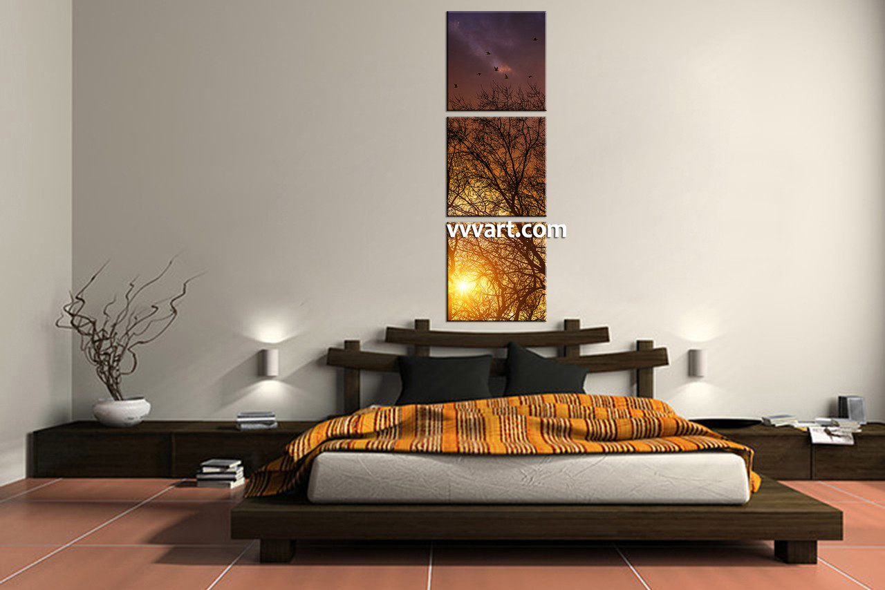 Forest Wall Art 3 piece yellow sunrise scenery large pictures