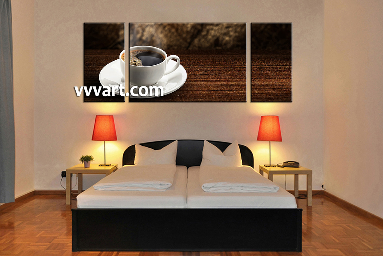 Bedroom Decor 3 Piece Wall Art Tea Cup Multi Panel Home