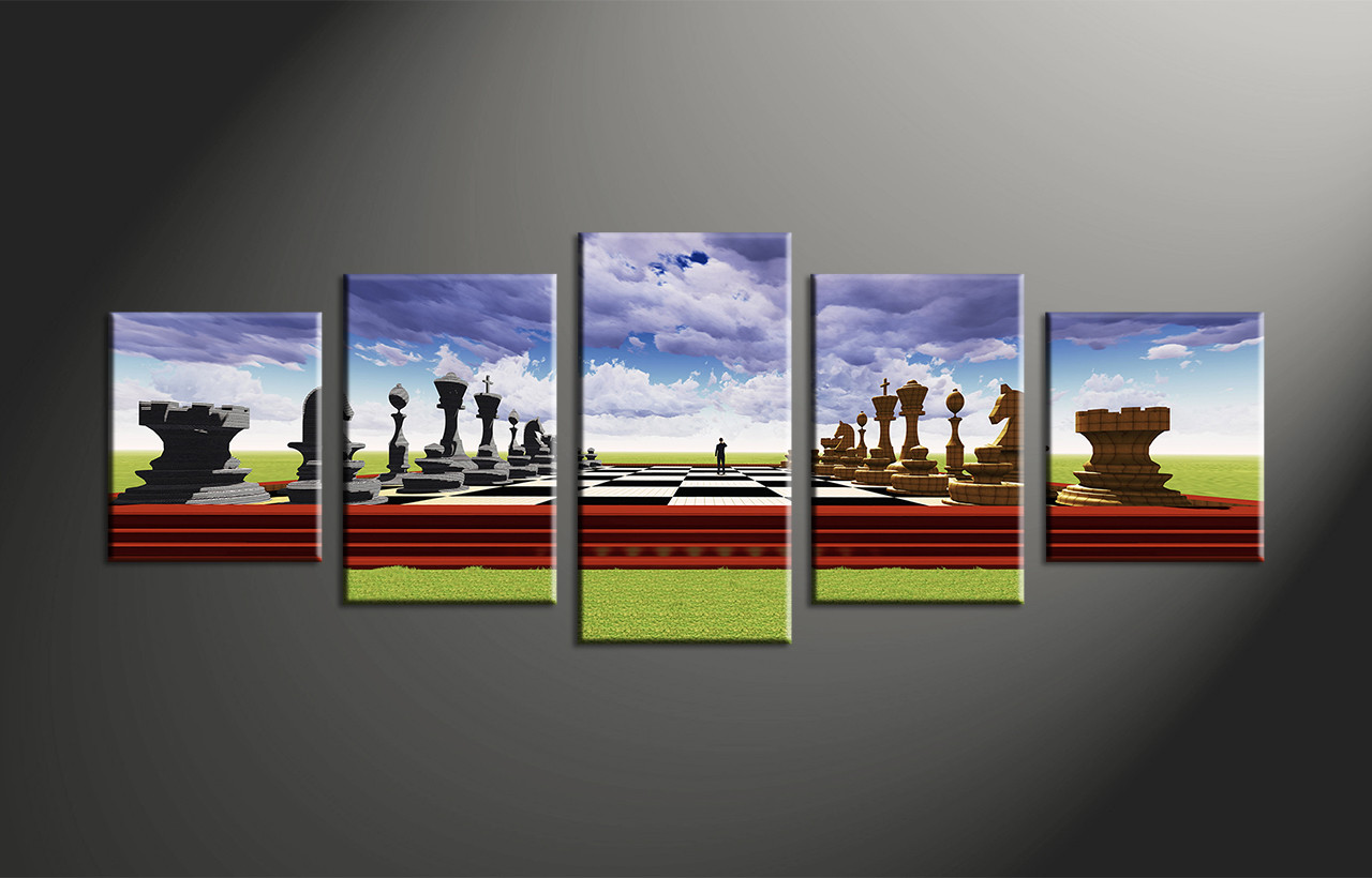 5 piece colorful modern pawns wall decor for 5 piece mural