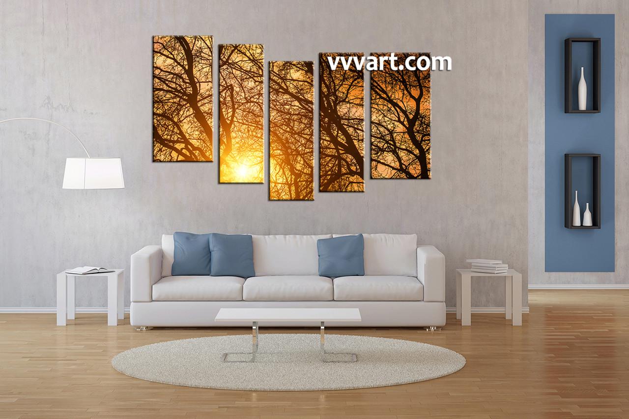 Forest Artwork Living Room Art 5 Piece Canvas Wall Sunrise Dcor