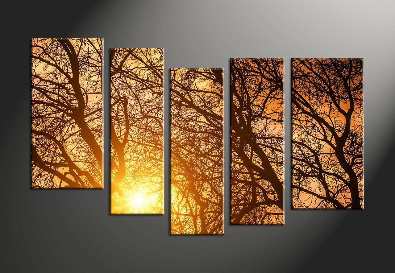 5 piece yellow sunrise scenery canvas wall art. Black Bedroom Furniture Sets. Home Design Ideas