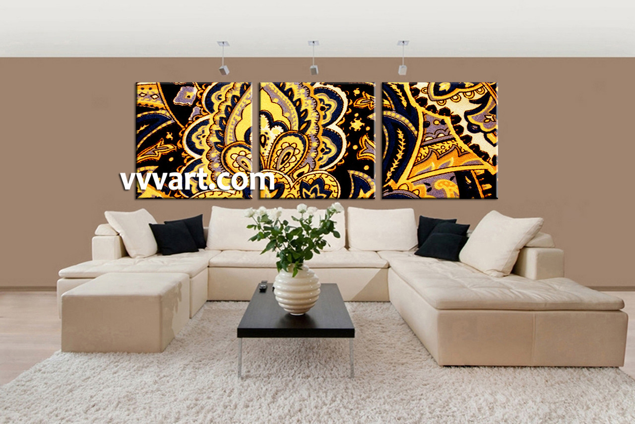 3 Piece Yellow Abstract Wall Art