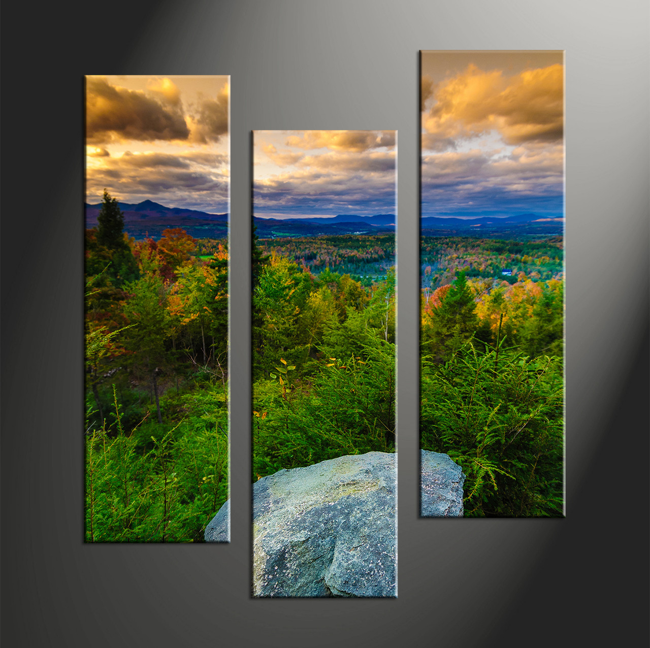 3 piece rock green landscape large pictures for 3 by 3 prints
