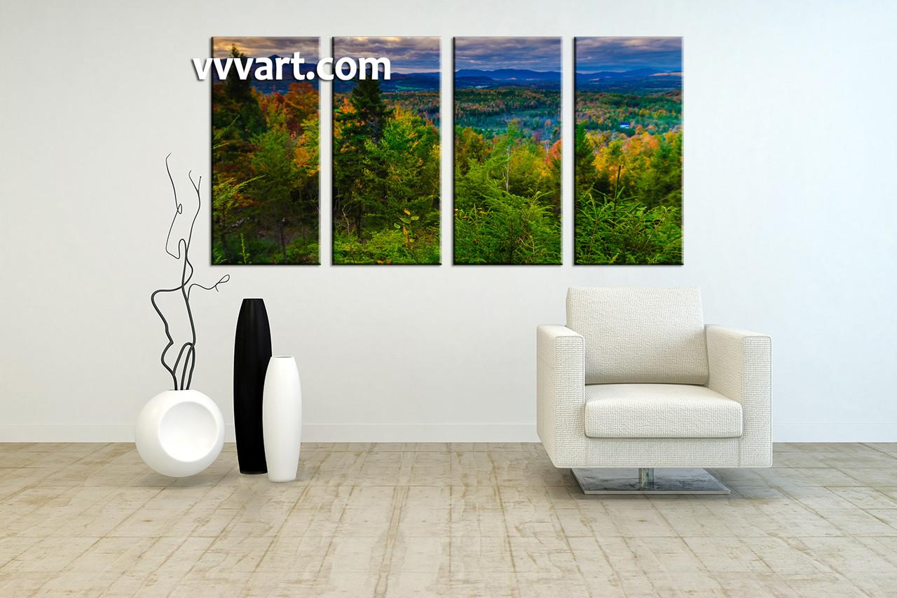 4 Piece Rock Green Landscape Canvas Print