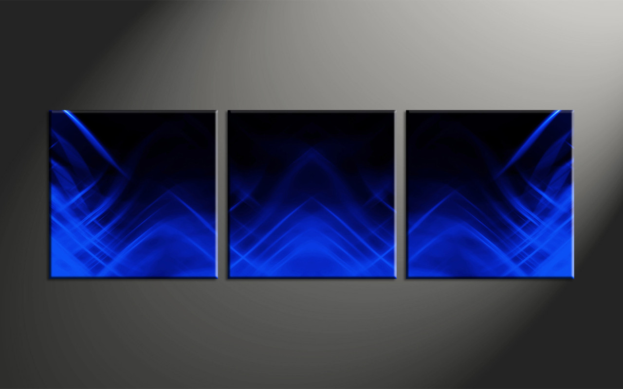 3 Piece Blue Abstract Canvas Wall Art