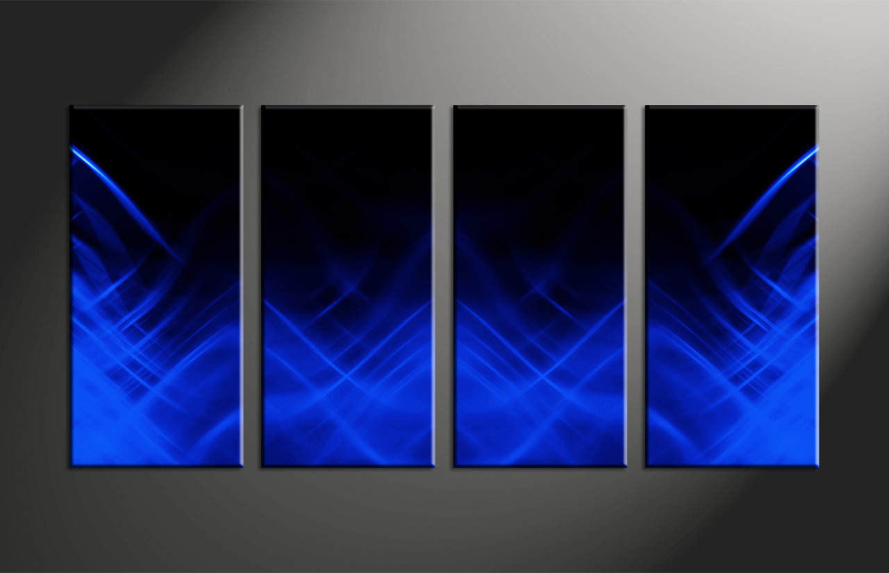 Large Abstract Wall Art 4 piece blue abstract canvas wall art